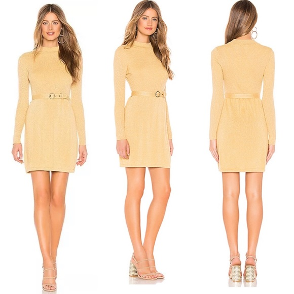 Free People | French Girl Mini Dress in Gold
